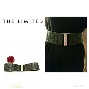 The Limited-Faux Blck. Lthr. Basket Weave Belt-S